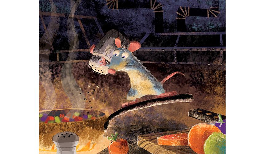 ハーレイ・ジェサップ(レイアウト:エンリコ・カサローザ)|≪カラースクリプトの習作:ラタトゥイユを作るレミー≫| 『レミーのおいしいレストラン』(2007年)|デジタルペインティング|©Disney/Pixar