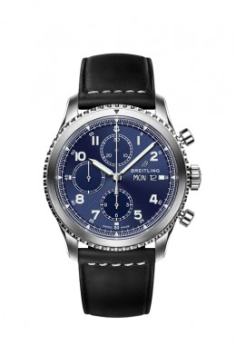 Navitimer-8-Chronograph-with-blue-dial-and-black-leather-strap