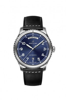 Navitimer-8-Day-&-Date-with-blue-dial-and-black-leather-strap