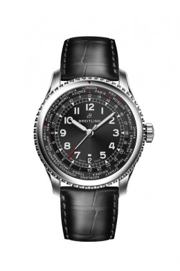 Navitimer-8-Unitime-with-black-dial-and-black-alligator-leather-strap