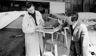 Ferry (right) and Ferdinand Alexander Porsche in the Porsche Design-Studio (ca1959