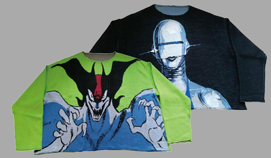 "KNIT GANG COUNCIL CREW NECK SWEATER ""DEVILMAN""""SEXY ROBOT""