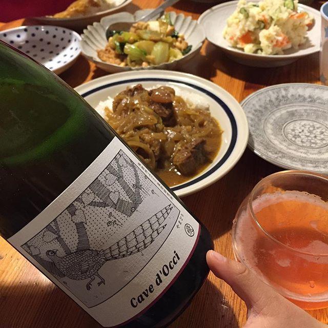 """Takuro Koga on Instagram: """"昨日の晩御飯より。 塊の牛肉が入ったカレーに山盛りポテサラ。 そんな日だってワインを飲みます(笑) 飲んだのはカーブドッチさんのどうぶつシリーズから、 新着の「やまどり飛ぶ」です。 12月中旬に入荷した「やまどり鳴く」の続編的ワイン。…"""" (14205)"""