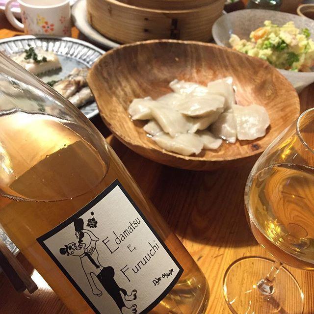 """Takuro Koga on Instagram: """"昨日の晩御飯より。 新元号が決まり、新年度がスタートした昨日。 新しいワインがQurutoに続々と入荷しました。 そんな中でも気になってたのがこちら。 三重県の國津果實酒醸造所から届いた、 エダマツ エ フルウチ """"ホワイト""""2018。…"""" (15391)"""