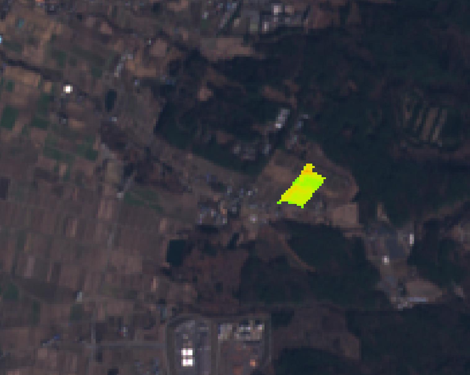 キャベツ圃場の生育状態解析ヒートマップ