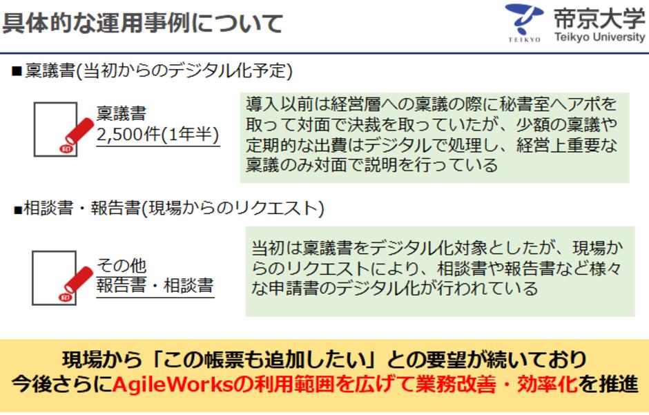 AgileWorks導入後1年半での具体的な運用状況。2,500件の稟議書のデジタル化に成功。月あたり200件以上と考えると、かなり良い成果だと言える。