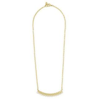 パール調のビーズをゴールドチェーンに配したネックレス。...
