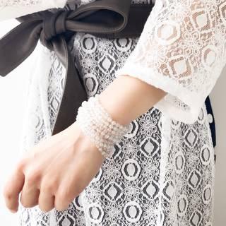 Nakamol(ナカモル)ホワイトクオーツ&クリスタル ブレスレット(マグネット留め具) (5947)