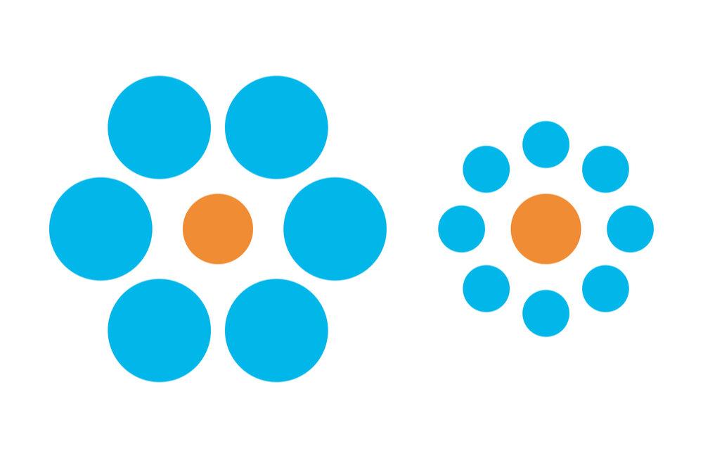 オレンジの円と水色の円