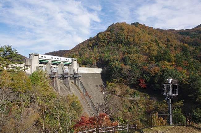 毎年11月に行われる「大野ダムもみじ祭り」。公園内のもみじの紅葉と錦秋に染まる周囲の山々とともに美山の秋の味覚をお楽しみください。