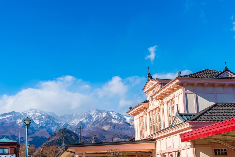 青い空を背景に建つ日光駅