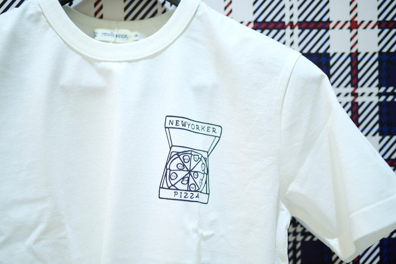 ニューヨーカーのピザプリントTシャツ