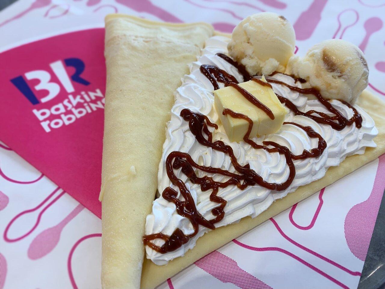 サーティワンエクスペリエンスの塩キャラメルシュガーバター&アイスクリーム クレープ