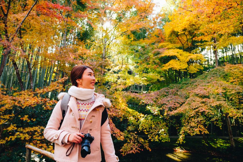紅葉狩りを楽しむ女性