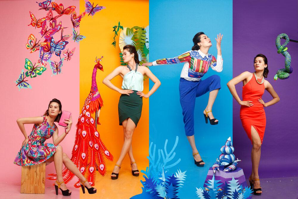 4つのスタイルで派手服をコーデしている女性達