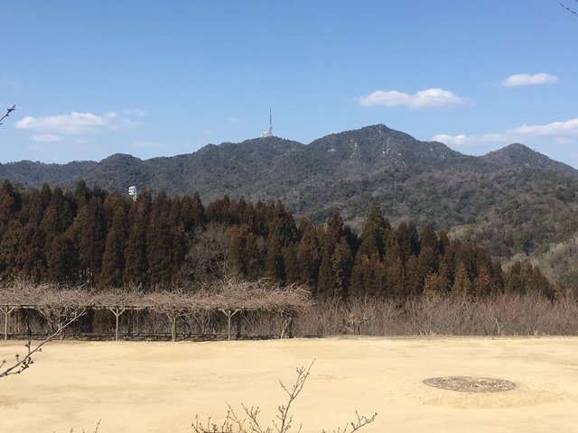 <野外活動センターから今から行く絵下山(真ん中)、龍山...