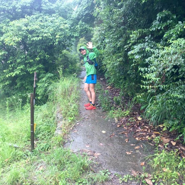 土砂降りの中、試走