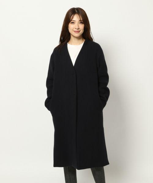 ノーカラー コート