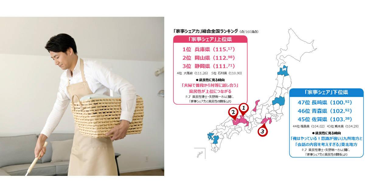 「家事シェア力」第1位は兵庫県!47都道府県別ランキングから考える家事シェアの課題と成功のコツ