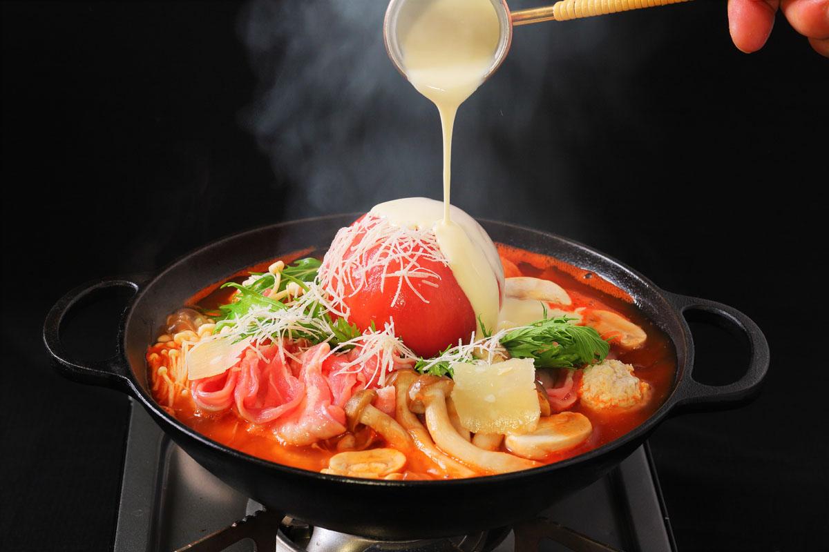 冬,あったかグルメ,完熟トマトのクアトロチーズ鍋,THE BUND,家men