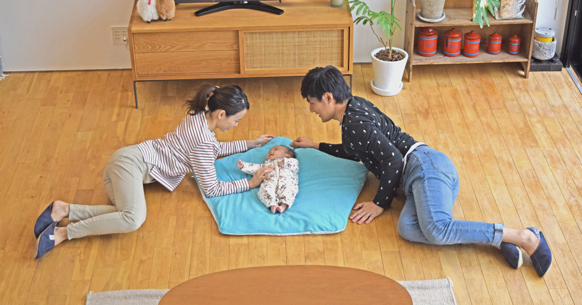 ぐっすり座布団,櫻花屋,赤ちゃん,寝かしつけ,家men