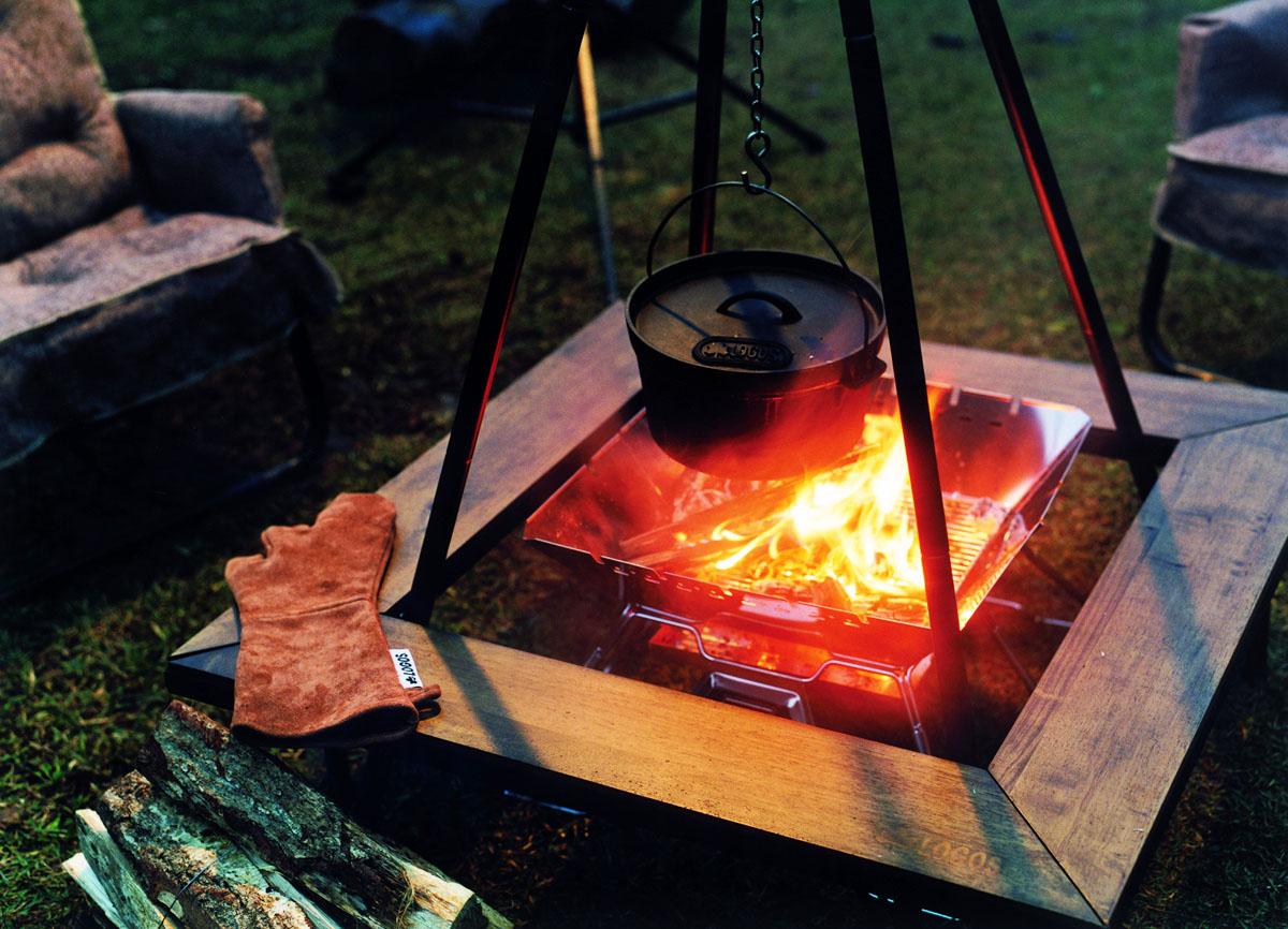 ロゴス,アウトドア,キャンプ,焚き火料理,LOGOS 吊り土鍋,アイアン囲炉裏テーブル,家men