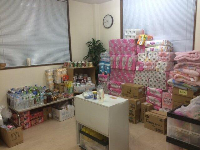 全国の支社から熊本の事務所に届いた救援物資