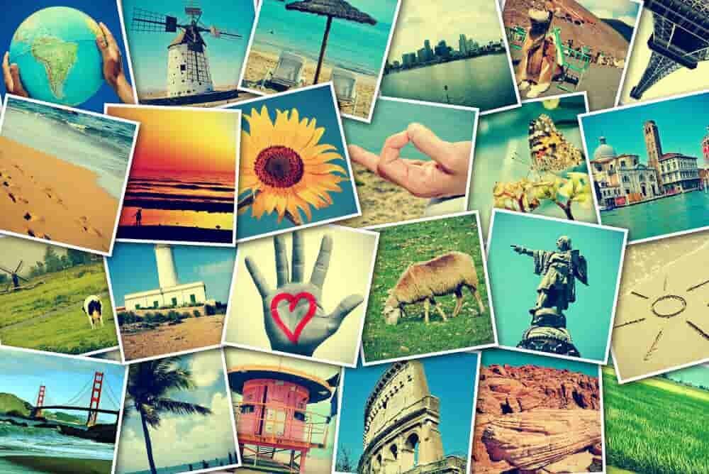 たくさん集められた風景などの画像