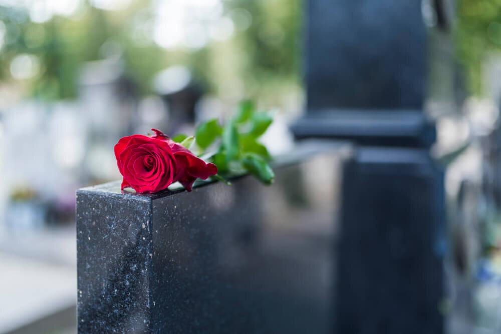 薔薇が置かれた墓碑