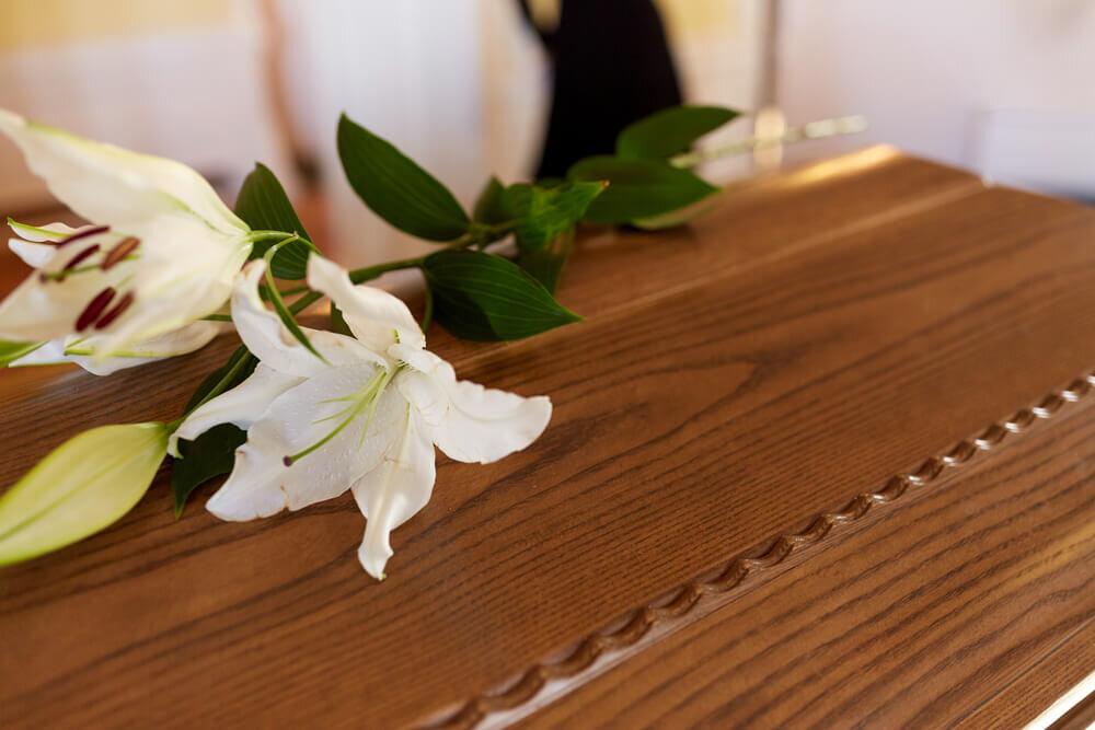 棺に乗った白い花