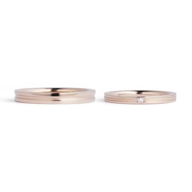 フェスタリアのピングゴールドの結婚指輪