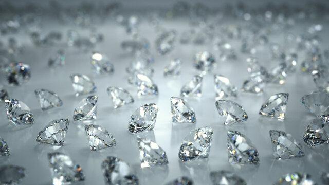ランダムに並んだダイヤモンド