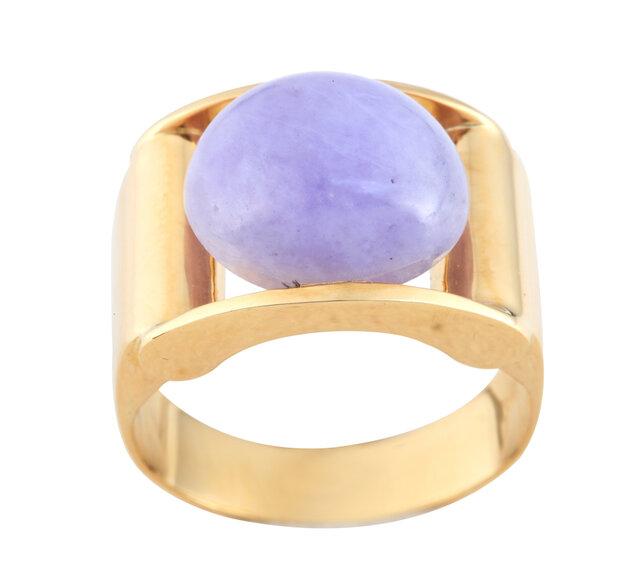 ラベンダー翡翠をあしらった指輪