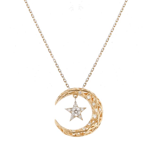 月と星モチーフのダイヤモンドネックレス