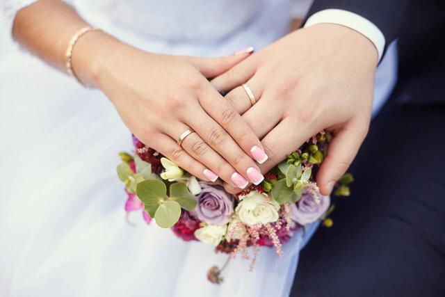 結婚指輪を着けた男女の手元