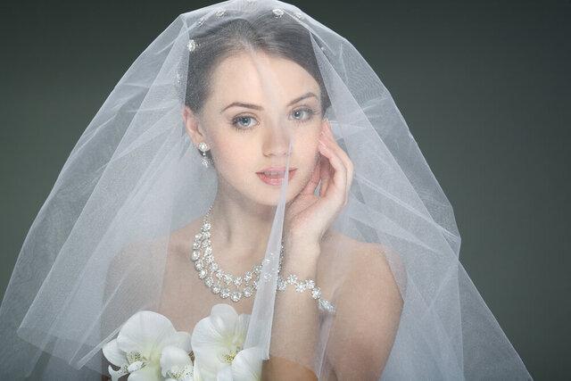 ふんわりとしたバルーンベールの花嫁