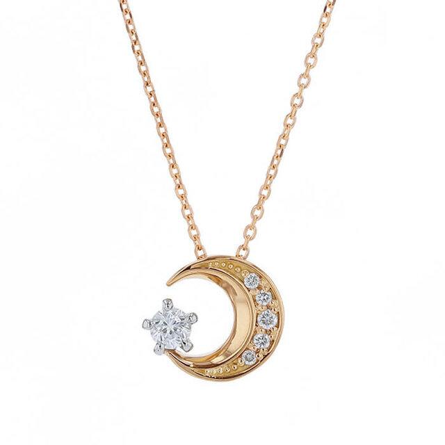 ダイヤモンドの月のネックレス