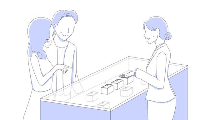 店舗でデザインを選ぶカップル