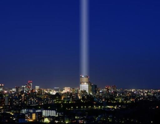 仙台に希望の光、大型照明8基で、震災10年で森トラスト