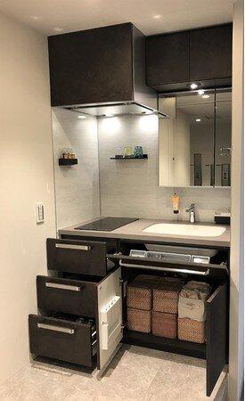 キッチンと洗面化粧台を合体 ワンルームプラン、より広く 三菱地所レジとタカラSが共同開発 まず賃貸シリーズ「西五反田」で