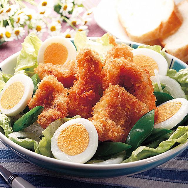 魚のフライと春野菜のサラダ