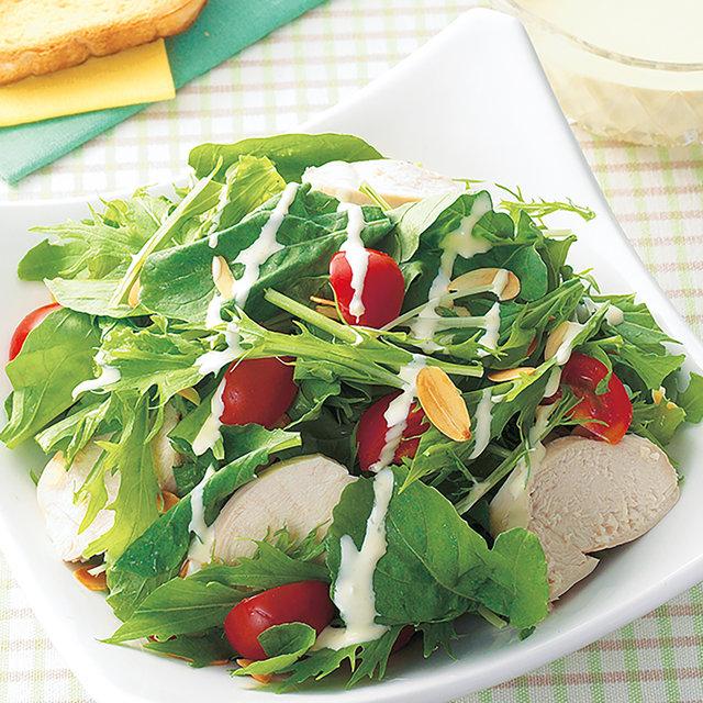 水菜とルッコラのチキンサラダ
