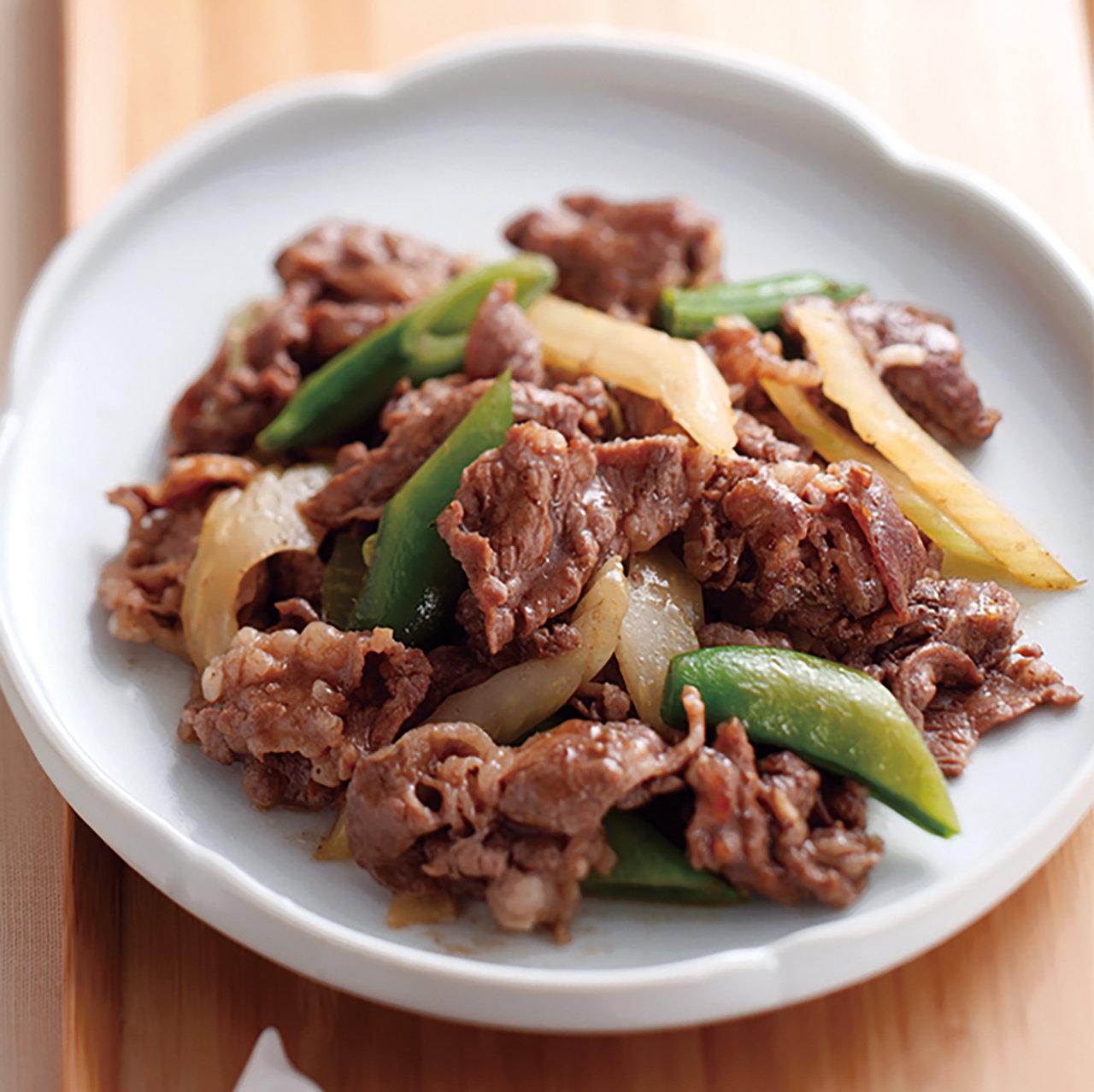 牛肉とスナップえんどうのマーマレード炒め