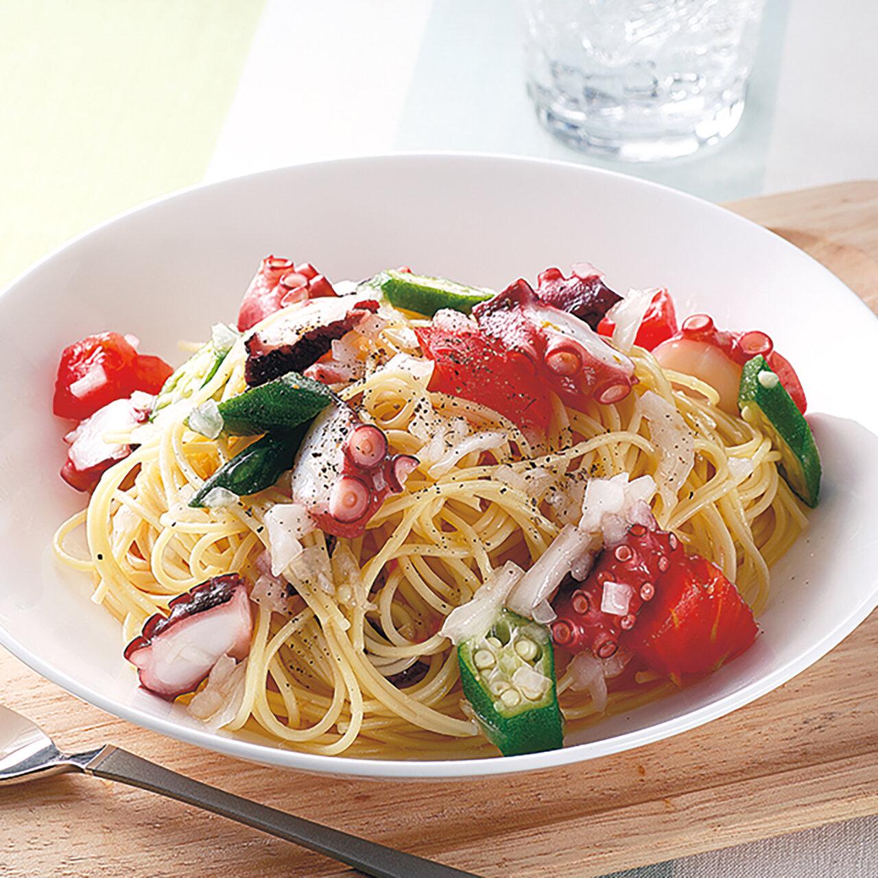 梅酢たことトマトの冷製パスタ