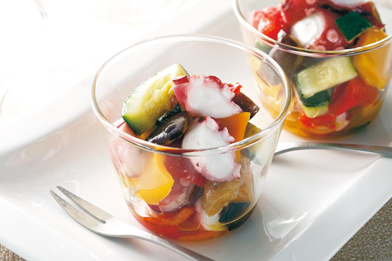 梅酢たことグリル野菜のマリネ