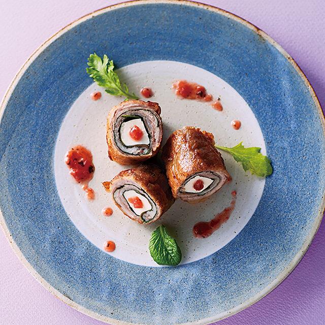 豆腐と青じその豚肉巻き梅肉ソース