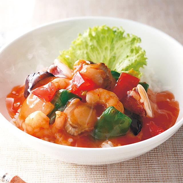 野菜たっぷり海鮮チリソース丼