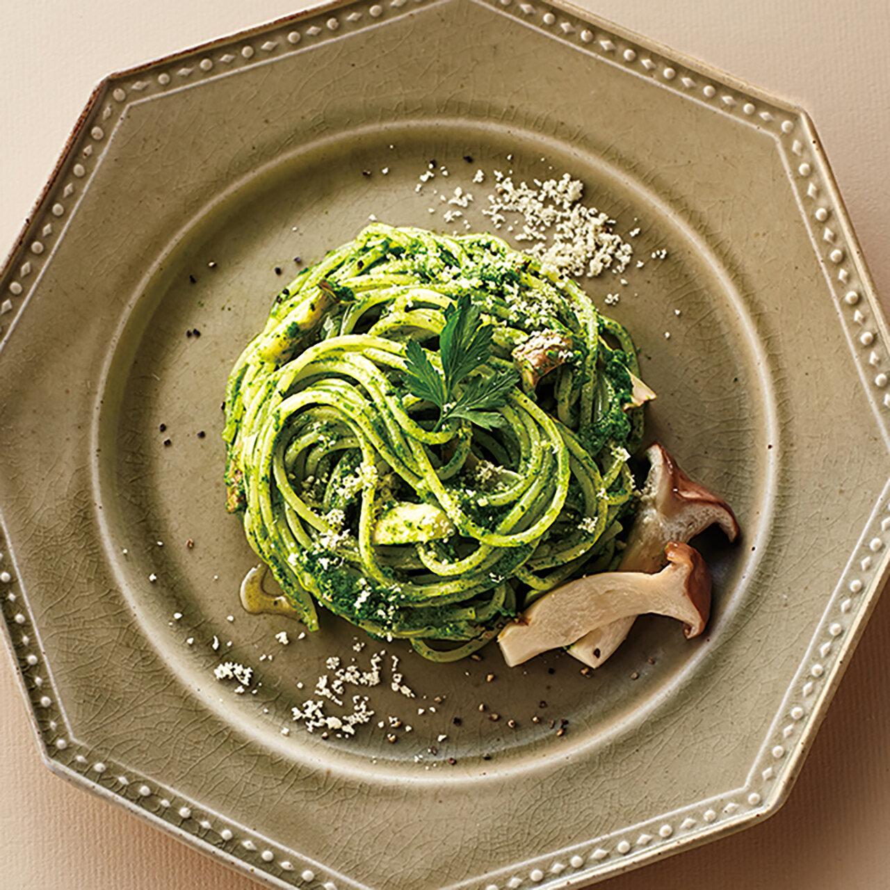 小松菜とエリンギのグリーンクリームパスタ