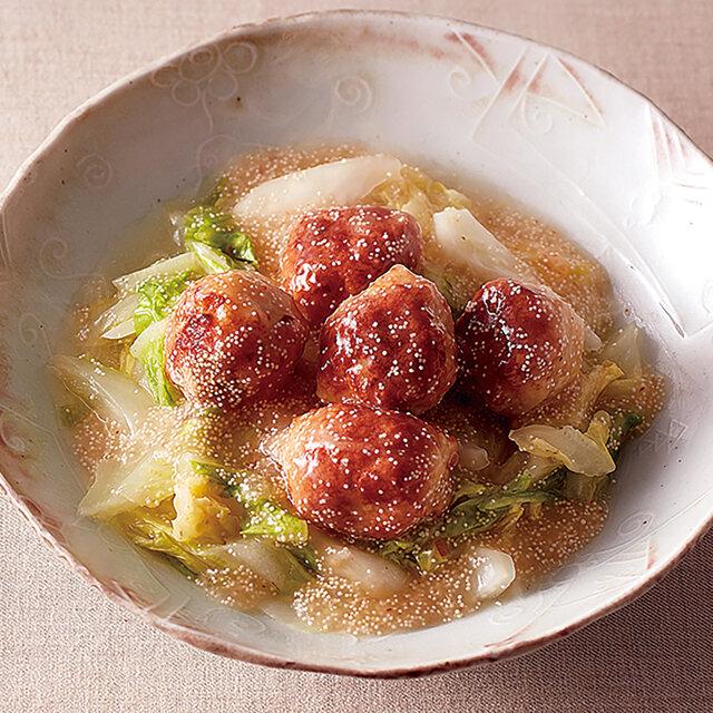 白菜のレンジ蒸し鶏団子明太あんかけ