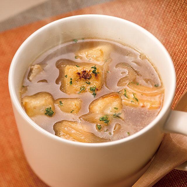 揚げ焼き豆腐のオニオンスープ